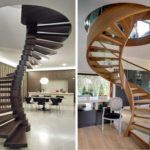 С перилами и без перил - выбор ваш. На фото справа деревянная винтовая лестница на гнутом косоуре - сложный для исполнения элемент