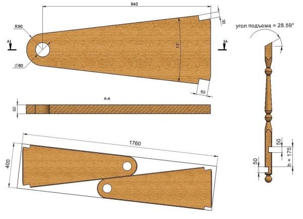 Чертеж элементов винтовой лестницы с размерами