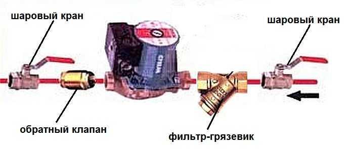 Принципиальная схема подключения циркуляционного насоса 44