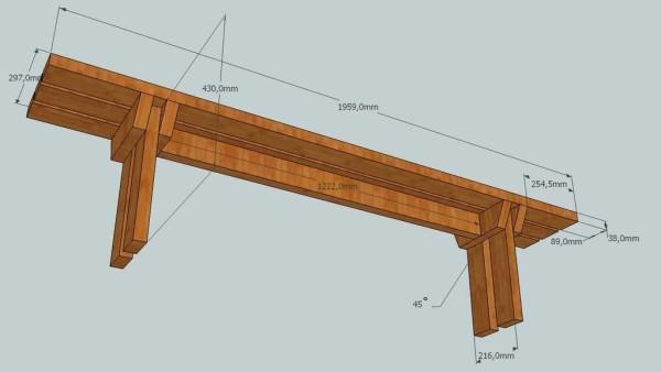 Чертеж скамейки с размерами