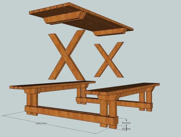Стол для дачи своими руками: 4 модели с поэтапными фото видео, чертежи с размерами