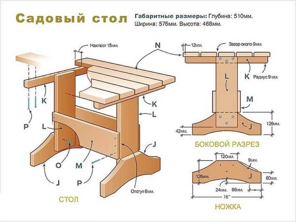 Стол для сада из древесины