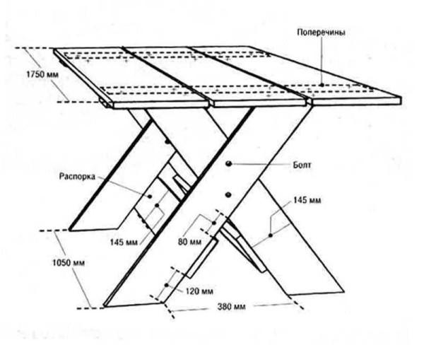 Простой стол с Х-образными ножками