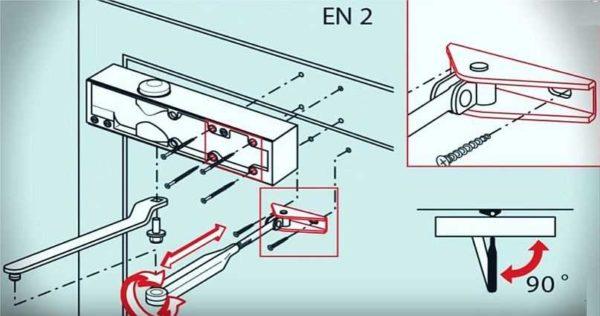 Схема установки доводчика на двери