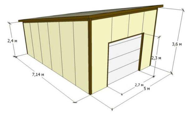 Проект гаража из сэдвич панелей для одной машины