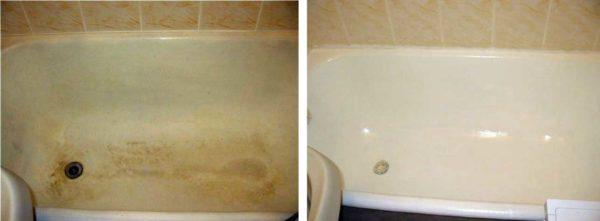 """Это ванна """"до"""" и """"после"""" реставрации наливным акрилом"""
