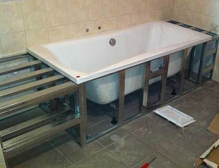 Экран под ванну из гипсокартона своими руками 6