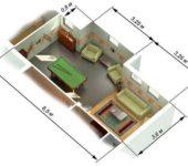Площадь комнаты сложной офрмы