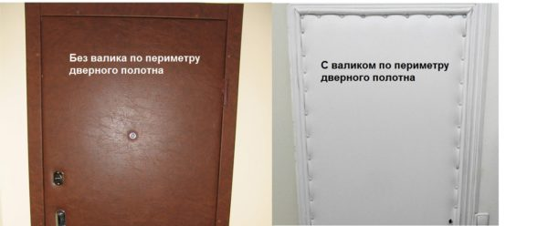 Обивка дверей дермантином - с валиком и без него