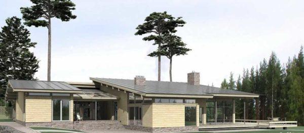 Одноэтажный дом с односкатной крышей большой площади