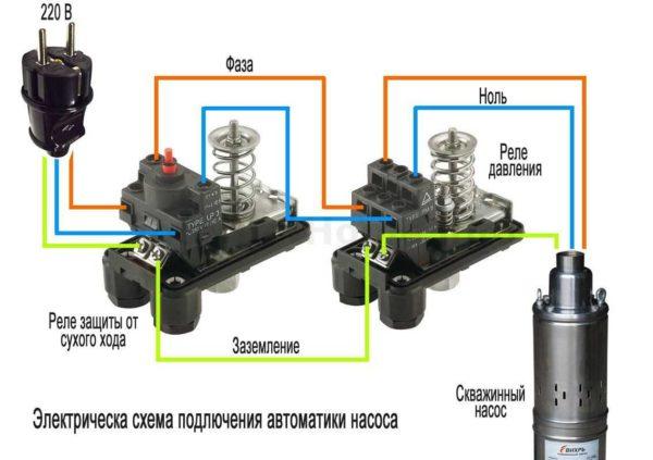 Боле подробная схема подключения реле давления в схеме подачи воды с глубинным насосом