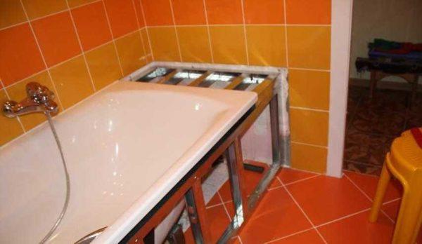 Экран для акриловой ванны своими руками из гипсокартона