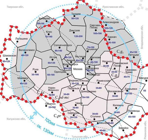 Глубины расположения верховодки по Московской области