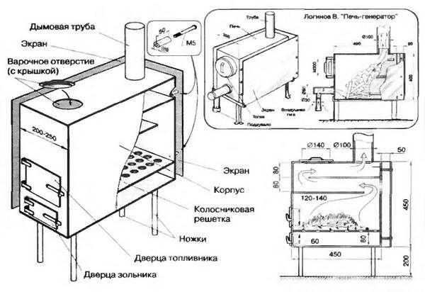 Схема с размерами печи для гаража (из листового металла)