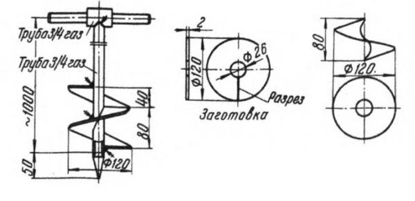 Подробный чертеж в проекциях шнекового бура