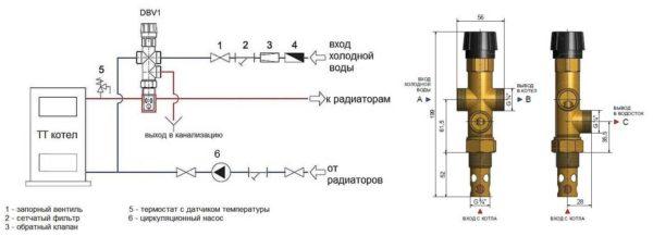 Защита твердотопливного котла от перегрева при помощи клапана