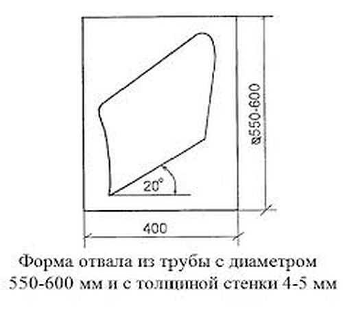 Размеры отвала из толстостенной трубы диаметром 50-60 мм (подойдет газовый баллон)