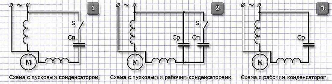 Схема подсоединения однофазного двигателя