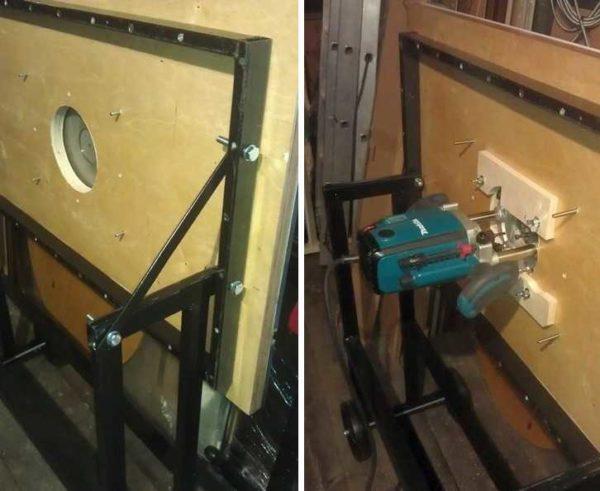 Самодельный фрезеровальный станок - горизонтальная плоскость с отверстием посредине, к которой снизу крепится ручной фрезер