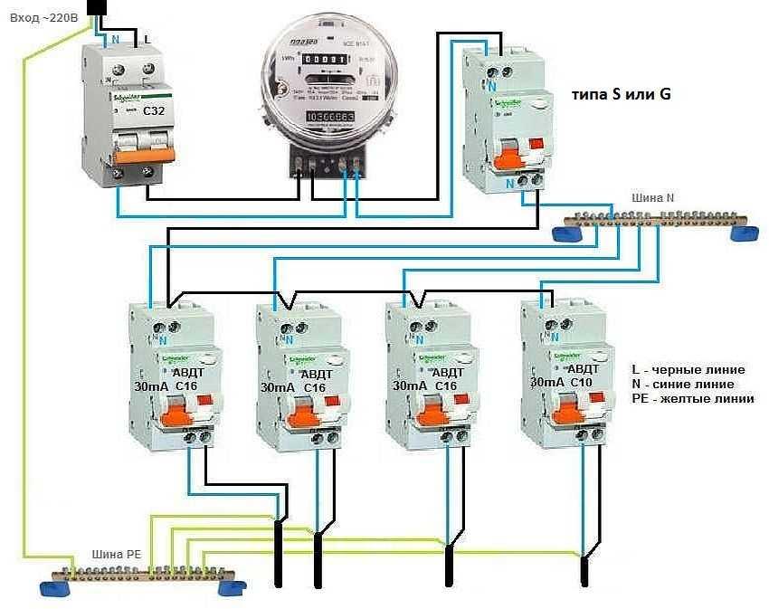 подключение автомата на 16 ампер схема