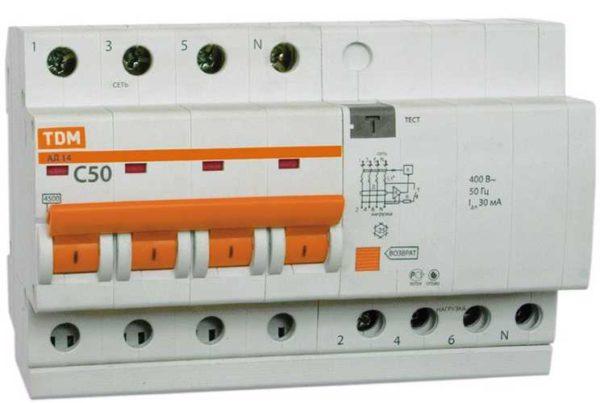 Четырехполюсный дифавтомат для подключения в сети 380 В