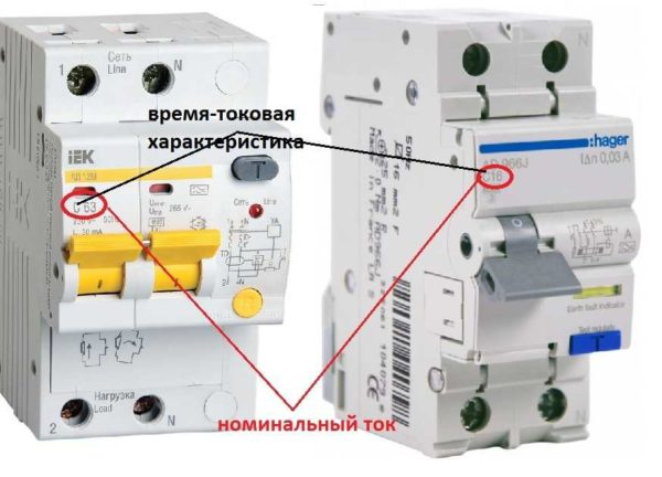 Номинал дифавтомата и его время-токовая характеристика
