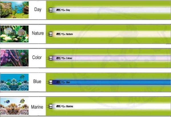 Некоторые типы специальных люминесцентных ламп для аквариумов
