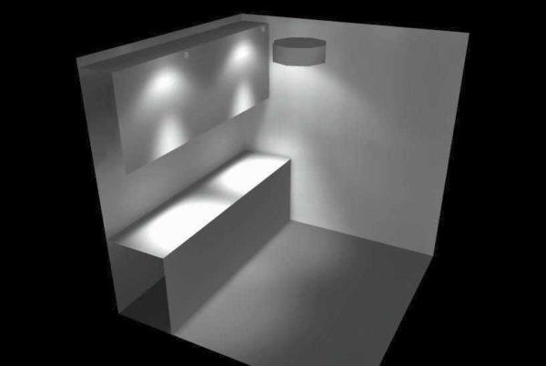 При использовании точечных светильников есть более и менее светлые пятна