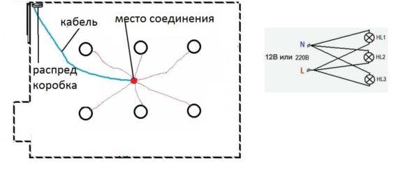 Параллельное подключение - кабелем к каждому светильнику