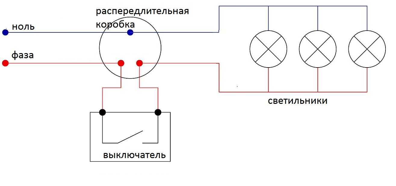 Электро схема от выключателя до лампочки