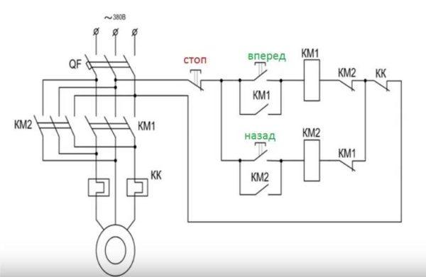 Реверсивная схема подключения трехфазного двигателя через магнитные пускатели