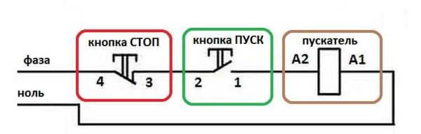 Схема включения магнитного пускателя с кнопками