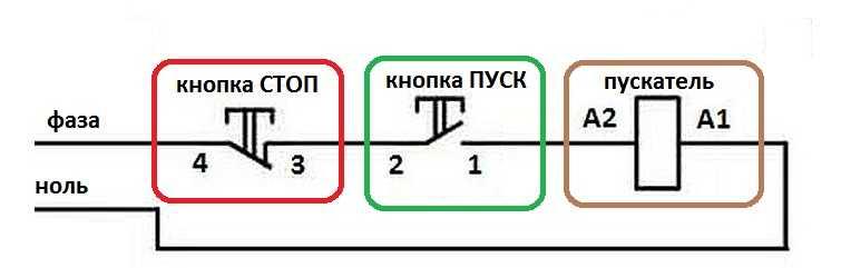 Схема контактора с кнопками стоп пуск