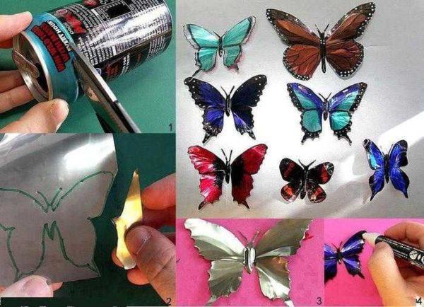 """Для """"бабочкового"""" декора стен можно использовать даже пивные банки"""