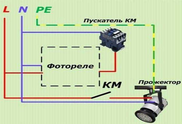 Схема подключения датчика день-ночь с пускателем
