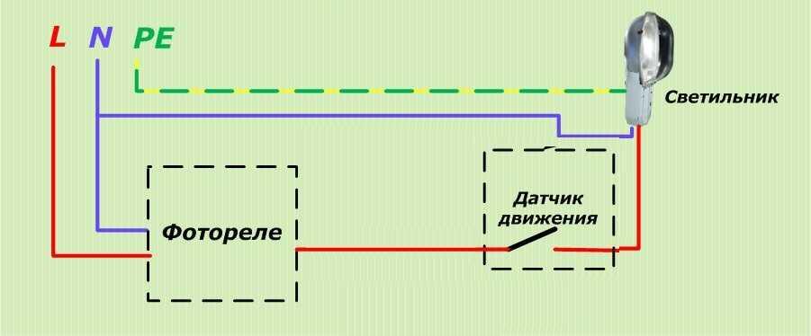 Схема подключения освещения уличного с фотореле и пускателем
