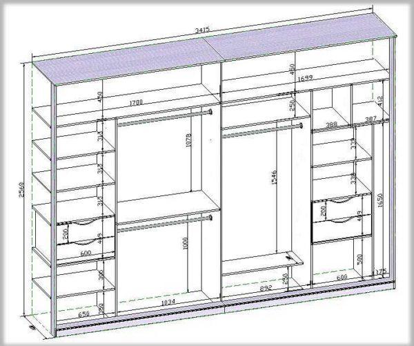 Наполнение шкафа купе с примерными размерами