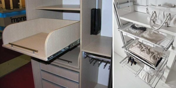 Без корзин или выдвижных ящиков шкаф купе не такой удобный