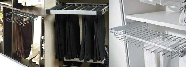 Приспособления для хранения в шкафу купе брюк и джинс
