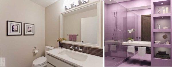 Крашеные стены в ванной - возможность быстро сменить цвет