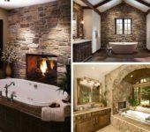 Натуральный камень в ванной - нестандартный способ отделать стены в ванной