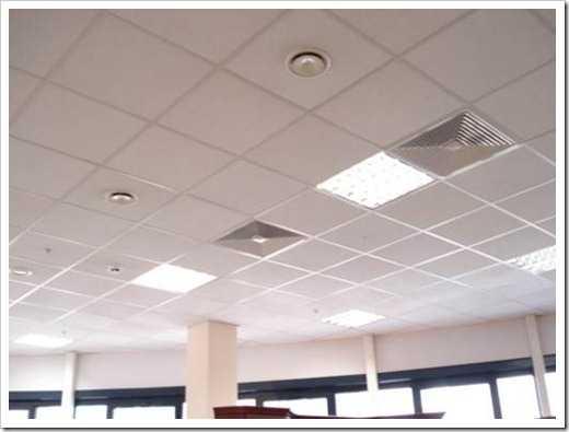 Пример использования светильников и вентиляционных решеток в офиссе