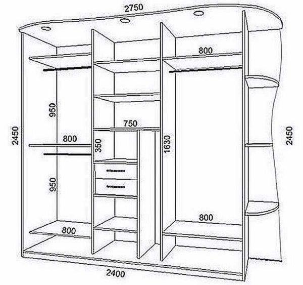 Встраиваемый шкаф чертежи