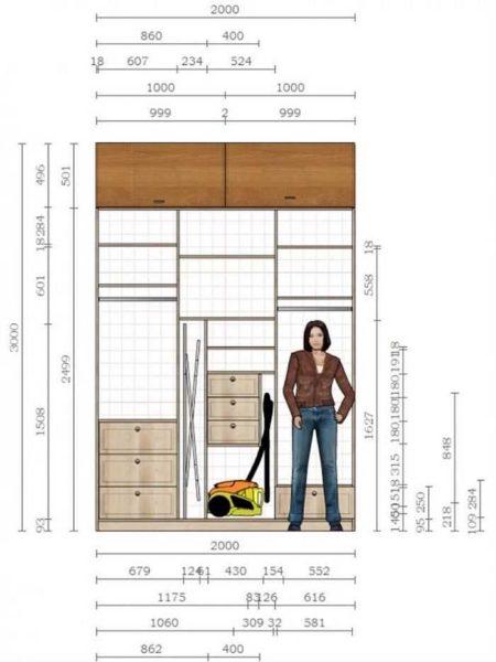 Шкаф купе в прихожую: план с размерами