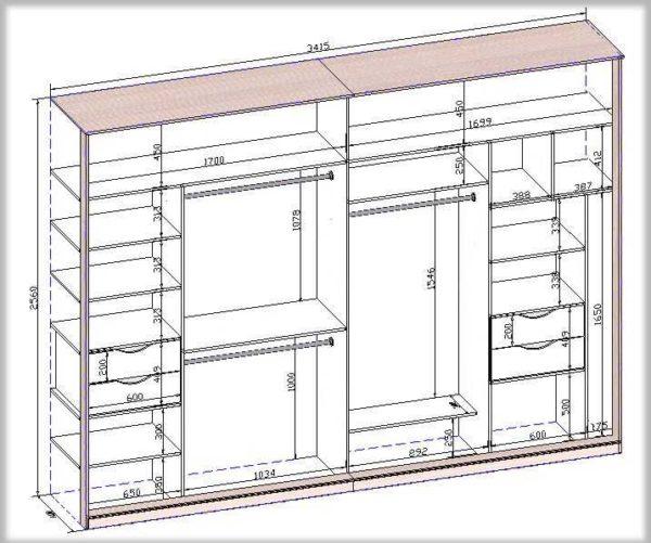 шкафы купе фото внутри с размерами