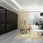 Матовое черное стекло в противовес светлому оформлению спальни