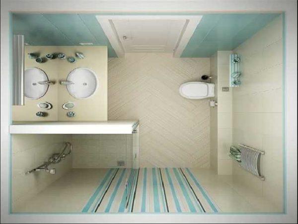 Пример планировки и раскладки плитки в современном стиле - комбинация нескольких видов в одной цветовой гамме