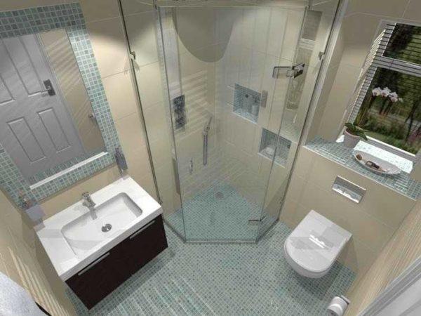 Расположение унитаза в квадратной ванной площадью 2 кв. м.