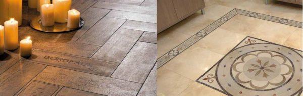 Наиболее распространенные виды плитки для пола - квадратная и прямоугольная