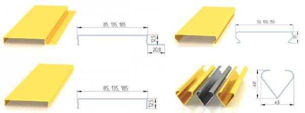 Формы реек для алюминиевого подвесного потолка